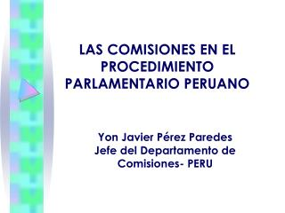 LAS COMISIONES EN EL PROCEDIMIENTO PARLAMENTARIO PERUANO