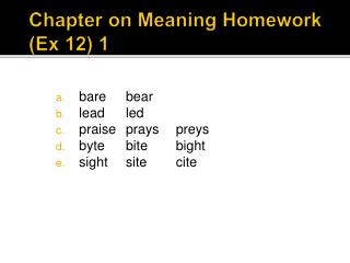 Chapter on Meaning Homework (Ex 12) 1