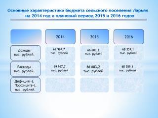 Основные характеристики бюджета сельского поселения  Ларьяк