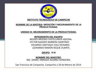 """UNIDAD III: """"MEJORAMIENTO DE LA PRODUCTIVIDAD """". Gestión total de la productividad Introducción"""