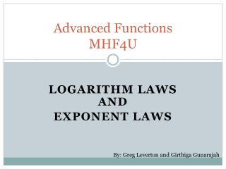 Advanced Functions  MHF4U
