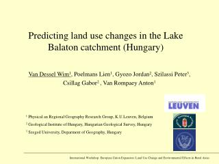 Predicting land use changes in the Lake Balaton catchment (Hungary)