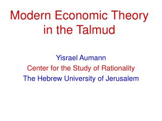 Modern Economic Theory in the Talmud