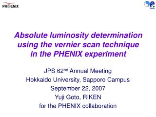 Absolute luminosity determination using the vernier scan technique in the PHENIX experiment