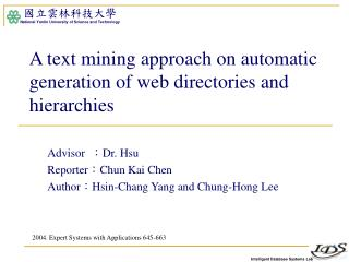 A text mining approach on automatic generation of web directories and hierarchies