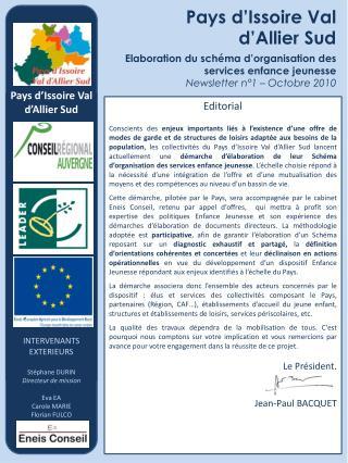 Référents Intervenant extérieur Eneis Conseil Directeur de mission : Stéphane DURIN