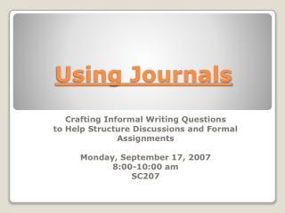 Using Journals