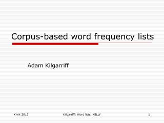 Corpus-based word frequency lists