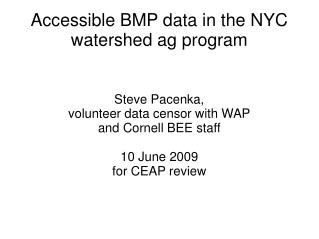 Accessible BMP data in the NYC watershed ag program
