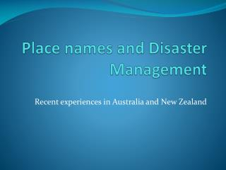 Place names and Disaster Management