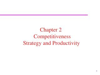Chapter 2   Competitiveness  Strategy and Productivity
