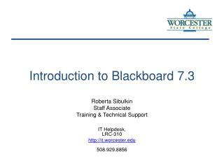 Introduction to Blackboard 7.3