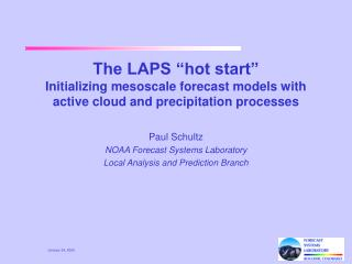 Paul Schultz NOAA Forecast Systems Laboratory Local Analysis and Prediction Branch