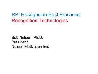 RPI Recognition Best Practices: Recognition Technologies