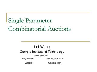 Single Parameter Combinatorial Auctions