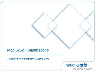 Mod 0262 - Clarifications