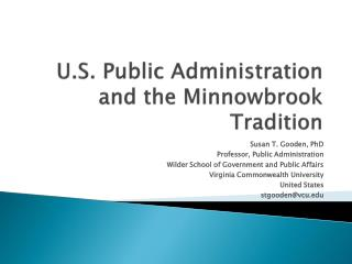 U.S. Public Administration and the  Minnowbrook  Tradition