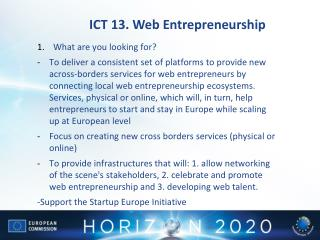ICT 13. Web Entrepreneurship