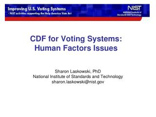 CDF for Voting Systems: Human Factors Issues