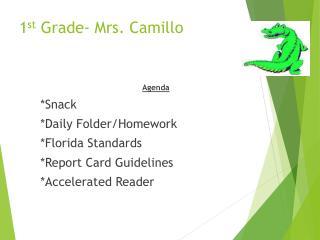 1 st  Grade- Mrs.  Camillo