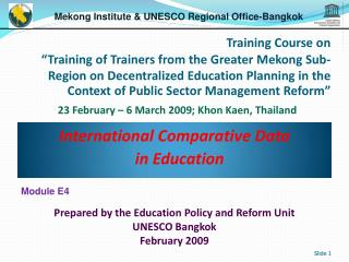 International Comparative Data in Education