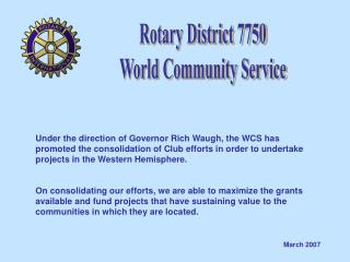 Rotary District 7750 World Community Service