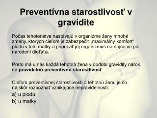 Preventívna starostlivosť v gravidite