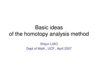 Basic ideas  of the homotopy analysis method