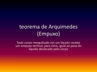 teorema de Arquimedes (Empuxo)