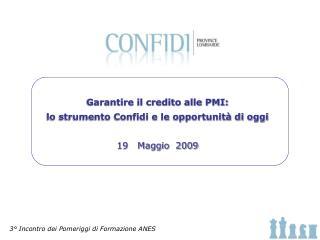 Garantire il credito alle PMI: lo strumento Confidi e le opportunità di oggi 19   Maggio  2009