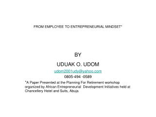 FROM EMPLOYEE TO ENTREPRENEURIAL MINDSET*