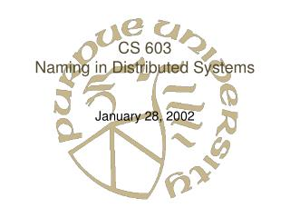 CS 603 Naming in Distributed Systems