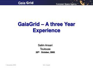 GaiaGrid – A three Year Experience