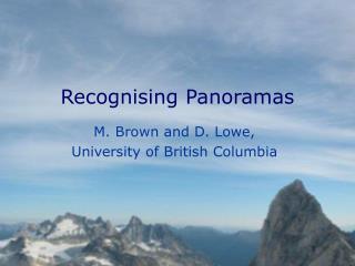 Recognising Panoramas