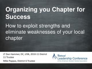 Organizing you Chapter for Success