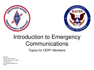 Introduction to Emergency Communications