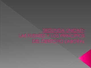 SEGUNDA UNIDAD :  LAS FUENTES Y LOS PRINCIPIOS DEL DERECHO LABORAL