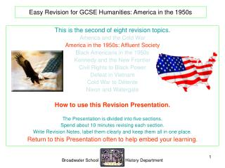 Easy Revision for GCSE Humanities: America in the 1950s