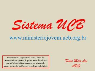 Sistema UCB ministeriojovem.ucb.br