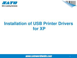 Installation of USB Printer Drivers  for XP
