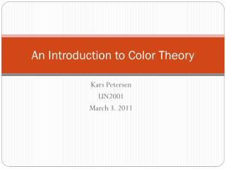 An Introduction to Color Theory