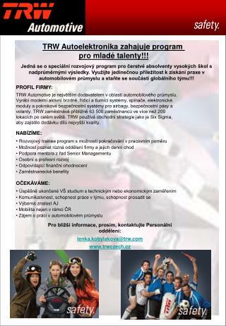 TRW Autoelektronika zahajuje program  pro mladé talenty!!!