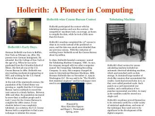 Hollerith:  A Pioneer in Computing