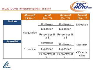 TEC'AUTO 2011 : Programme général du Salon