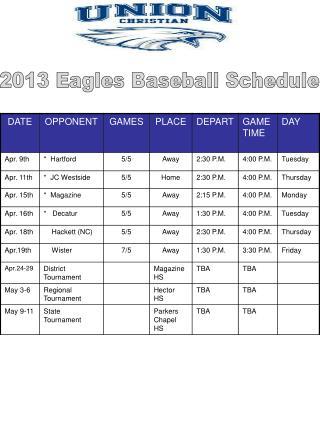2013 Eagles Baseball Schedule