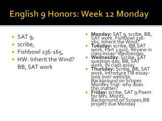 English 9 Honors: Week 12 Monday