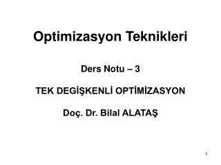 Optimizasyon Teknikleri