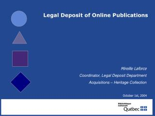 Legal Deposit of Online Publications