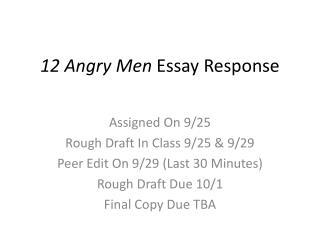 12 Angry Men Essay Response