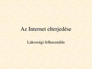 Az Internet elterjedése